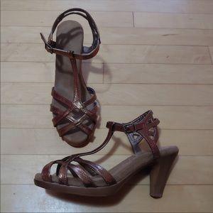 """Bronze strappy dress pump, 2"""" heel, size 10"""